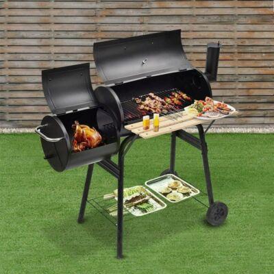 2in1 faszenes BBQ grill és smoker