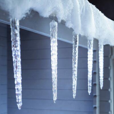 8 részes, hidegfehér kültéri olvadó jégcsap fényfüzér, ünnepi dekoráció, 8x30cm