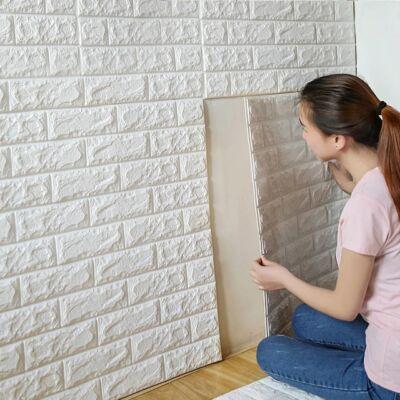 3D tégla hatású fali dekorburkolat, tapéta fehér színben 70x77x0,6 cm - nem tapad