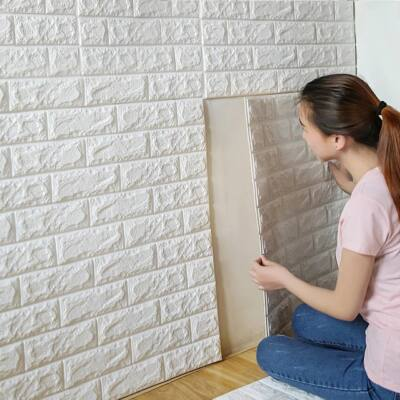 Öntapadós 3D tégla hatású dekor falmatrica, tapéta fehér színben 70x77x0,6 cm