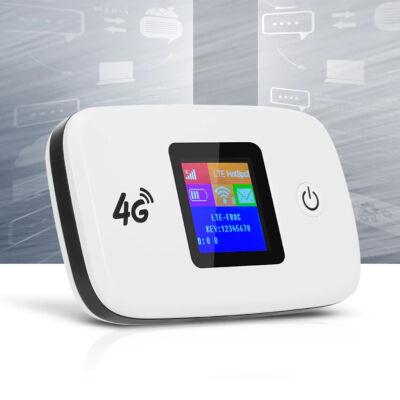 Hordozható vezeték nélküli 4G LTE modem és router színes kijelzővel