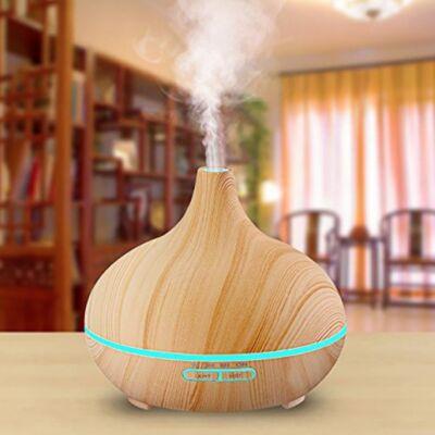 Fa hatású aromaterápiás párologtató, ultrahangos párásító, illatosító távirányítóval