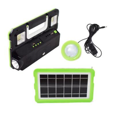 Multifunkciós hordozható szolár készlet lámpával, USB töltővel, zenelejátszóval, GD-7720