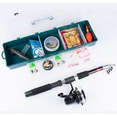 Horgászfelszerelés dobozban, karbonszálas horgászbottal, csalikkal, súlyokkal