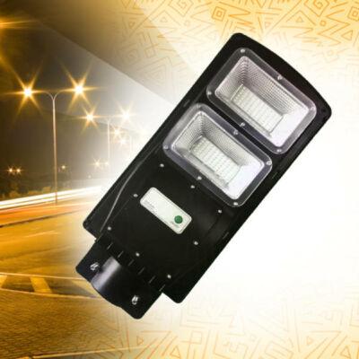 Nagy fényerejű mozgásérzékelős utcai LED lámpa intergrált napelemmel, 60W