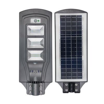 Nagy fényerejű utcai LED lámpa intergrált napelemmel, 90W