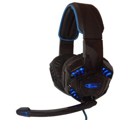 Akorn OK8000 vezetékes sztereó gamer fejhallgató mikrofonnal, kék