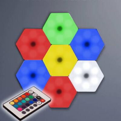Hatszög alakú színes távirányítós RGB LED világítás készlet, 3db