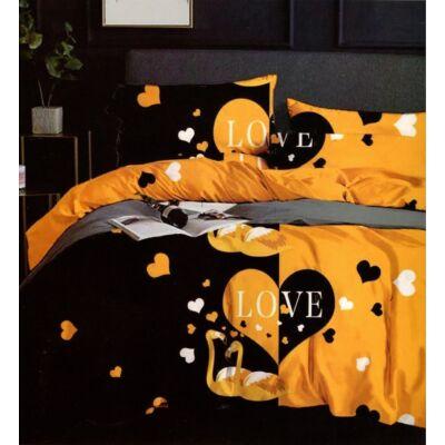 Prémium 7 részes pamut ágyneműhuzat garnitúra - fekete-sárga Love