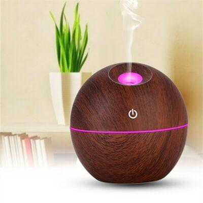 Fa hatású mini aromaterápiás párologtató, ultrahangos párásító, illatosító - sötétbarna gömb