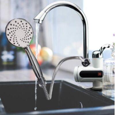 LED kijelzős átfolyós vízmelegítő csaptelep zuhanyfejjel, 3 kW teljesítménnyel