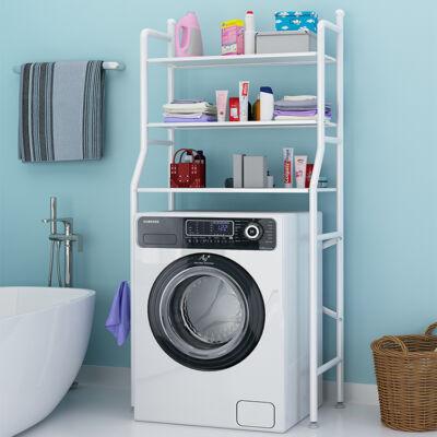 3 szintes fém polcrendszer, tároló, mosógép fölé, 152 cm, fehér