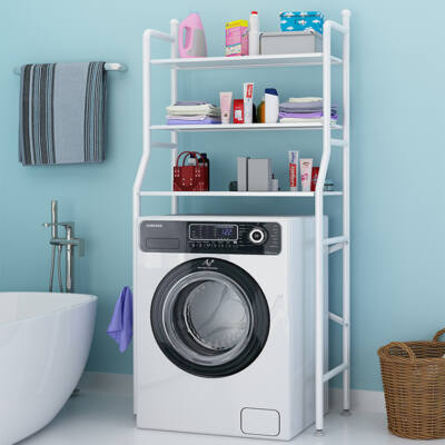 3 szintes fém polcrendszer, tároló, mosógép fölé, 163cm, fehér