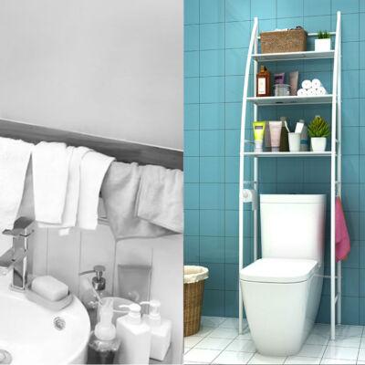 3 szintes fém polcrendszer, tároló, WC fölé, 163cm, fehér (vitorla)
