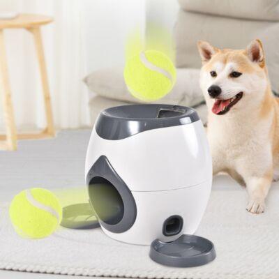 Jutalomfalat adagoló interaktív fejlesztő játék kutyáknak, 2 db teniszlabdával