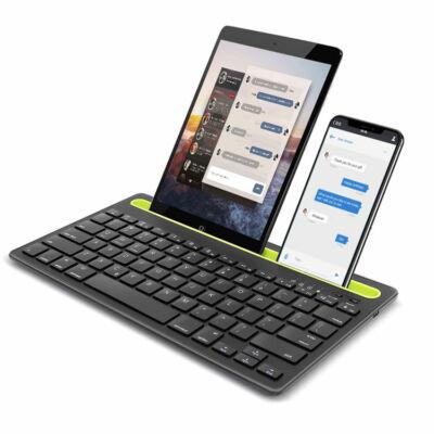 Univerzális kétcsatornás bluetooth billentyűzet telefon- és tablettartóval, fekete