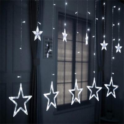 Hidegfehér sorolható fényfüggöny csillagokkal, 8 programmal, 200cm