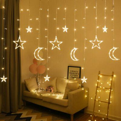 Melegfehér sorolható fényfüggöny csillagokkal, és hold formákkal, 8 program, 200cm
