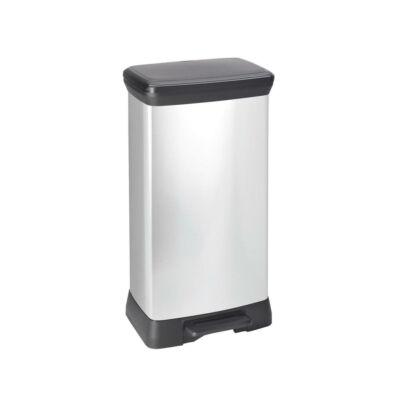 Curver Deco BIN pedálos fémhatású szemetes 50L, Ezüst