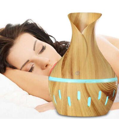 Fa hatású váza aromaterápiás párologtató, ultrahangos párásító és illatosító - világosbarna