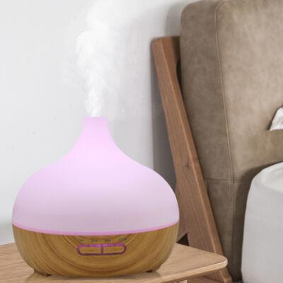 Fa hatású távirányítós óriás aromaterápiás párologtató, ultrahangos párásító, illatosító, 400 ml - vulkán