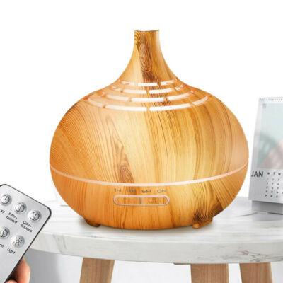 Fa hatású távirányítós óriás aromaterápiás párologtató, ultrahangos párásító, illatosító, 400 ml - rácsos