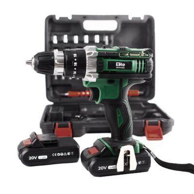 Elite® akkus ütvefúró és csavarozó szett 2 db 20V-os Li-ion akksival + 28 db kiegészítővel kofferben E-CHD20-28B