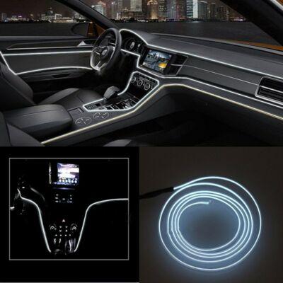 Fehér autós beltéri dekorációs világítás, ambient light, hangulatfény, elektrolumineszcenciás lámpa, 3.5 méter