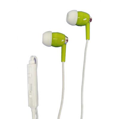 Falcon vezetékes headset, fülbe dugható fülhallgató, zöld, YM-438