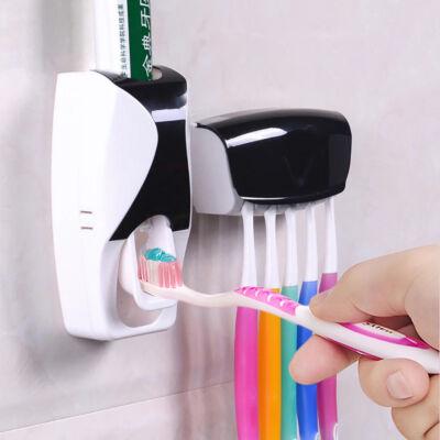 Falra szerelhető fogkrém adagoló és családi fogkefe tartó
