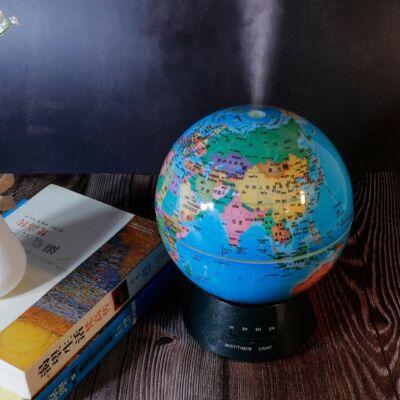 Világító földgömb alakú aromaterápiás párologtató és éjszakai fény, ultrahangos párásító, illatosító