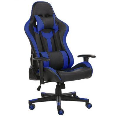 Értékcsökkent - Gamer szék fej-és derékpárnával, állítható kartámasszal kék-fekete színben