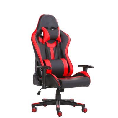 Értékcsökkent - Gamer szék fej-és derékpárnával, állítható kartámasszal piros-fekete színben