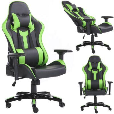 Gamer szék fej-és derékpárnával, állítható kartámasszal zöld-fekete színben