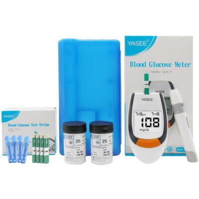 Digitális vércukorszint mérő készlet 50 db tesztcsíkkal és lándzsával, műanyag tárolóval