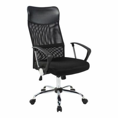 Ergonomikus irodai szék magas háttámlával fekete színben, króm lábakkal
