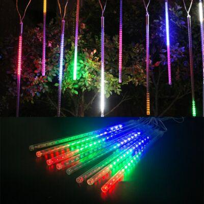 Kültéri színes meteor fényeső, fényfüzér, sorolható,  8 részes, 80 cm