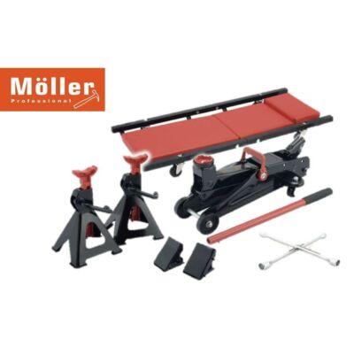 Möller 7 részes kerékcsere szett, 2T krokodilemelő + szerelődeszka + bakok + keresztkulcs + támasz MR70364