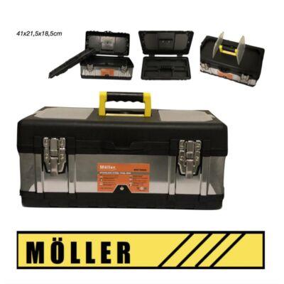 Möller rozsdamentes acél szerszámosláda fém csattal 41x21,5x18,5 cm MR70659