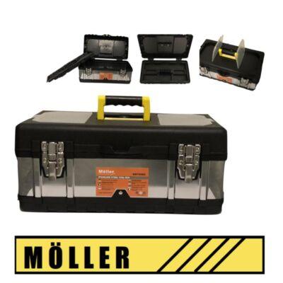 Möller rozsdamentes acél szerszámosláda fém csattal 45x25x19,5 cm MR70660