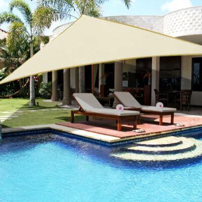 Napvitorla - árnyékoló teraszra, erkélyre és kertbe háromszög alakú 3x3x3 m bézs színben - HDPE masszív anyagból