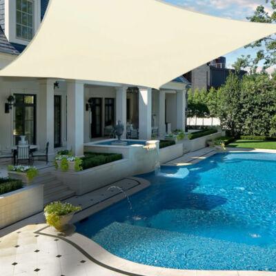 Napvitorla - árnyékoló teraszra, erkélyre és kertbe szögletes 3x4 m bézs színben - polyester (vízálló)