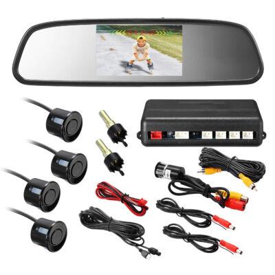 Parkolási asszisztens készlet tolatóradarral, kamerával, tükörbe épített LCD monitorral