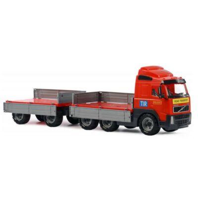 Volvo nagy méretű pótkocsis teherautó, játékautó, 76cm