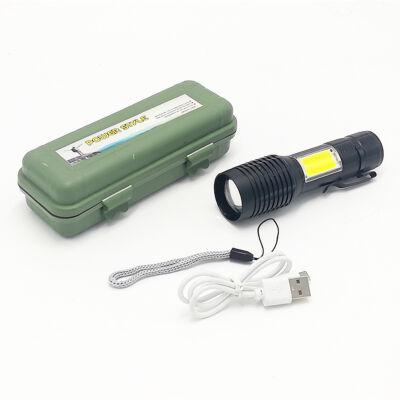Power Style COB LED extra fényerejű többfunkciós zseblámpa fém házban, műanyag dobozban