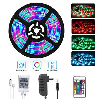 5 méteres vízálló RGB LED szalag készlet távirányítóval és tápegységgel
