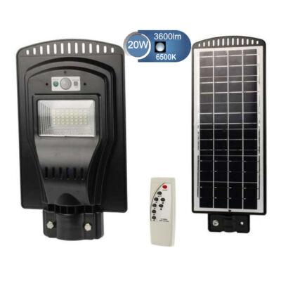 SNHL napelemes utcai, udvari LED lámpa mozgásérzékelővel, távirányítóval - 20W