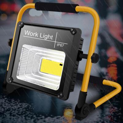 Hordozható akkumulátoros LED reflektor beépített napelemmel, távirányítóval, 50W
