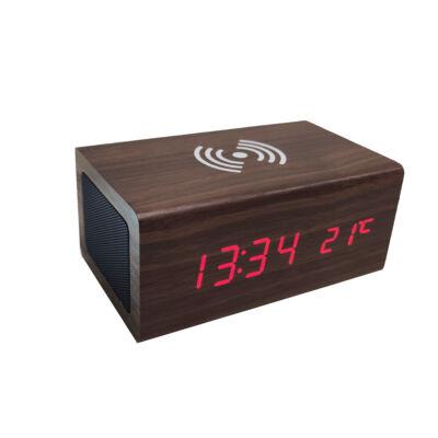 Fából készült sztereó bluetooth hangszóró vezeték nélküli töltő funkcióval, sötétbarna