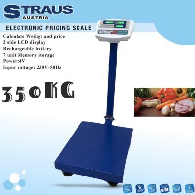 Straus digitális árazómérleg kétoldali LCD kijelzővel, 350kg teherbírással